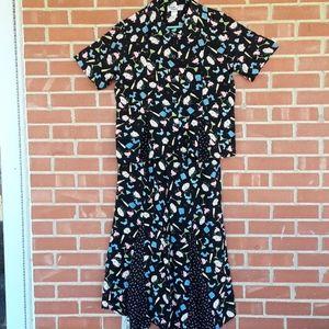Vtg.Festive Cactus Flower top and swing skirt,sz L